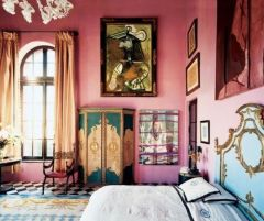 Cute bedroom design ideas with pink and green walls 62