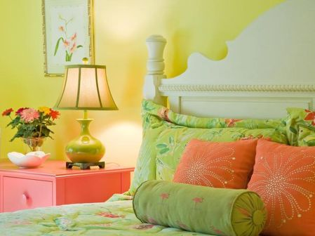 Cute bedroom design ideas with pink and green walls 77