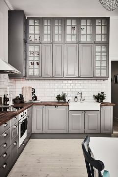 Gray color kitchen cabinets 46