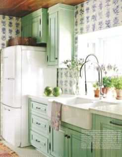 Kitchens design ideas with green walls 27