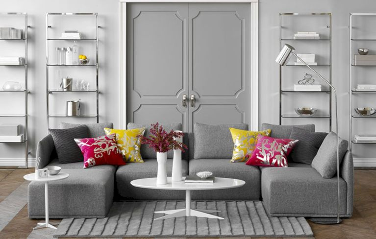 Stunning gray and white living room decor ideas 37
