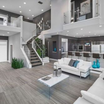 Stunning gray and white living room decor ideas 58