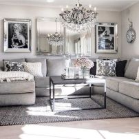 Stunning gray and white living room decor ideas 63