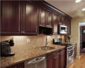 Stylish dark brown cabinets kitchen 02