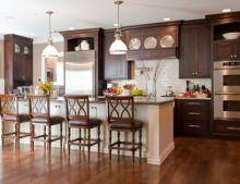 Stylish dark brown cabinets kitchen 05