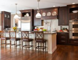 Stylish dark brown cabinets kitchen 05