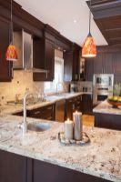 Stylish dark brown cabinets kitchen 08