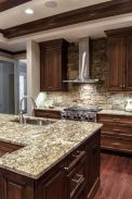 Stylish dark brown cabinets kitchen 14