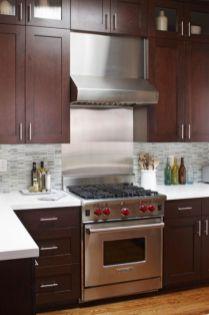 Stylish dark brown cabinets kitchen 33