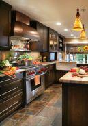 Stylish dark brown cabinets kitchen 34