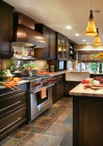 Stylish dark brown cabinets kitchen 34