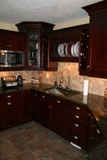 Stylish dark brown cabinets kitchen 43