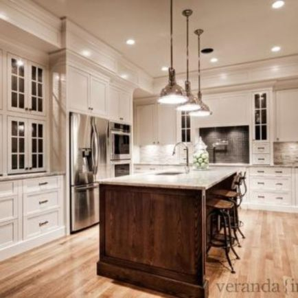 Stylish dark brown cabinets kitchen 54