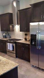 Stylish dark brown cabinets kitchen 59