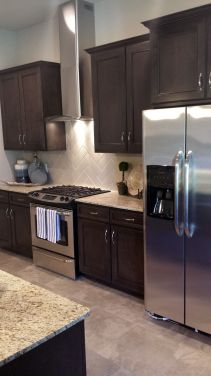 Stylish dark brown cabinets kitchen 59