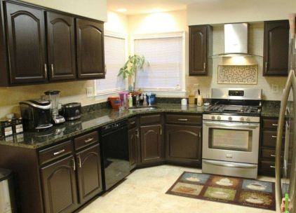 Stylish dark brown cabinets kitchen 65