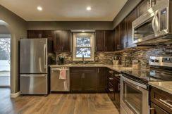 Stylish dark brown cabinets kitchen 68