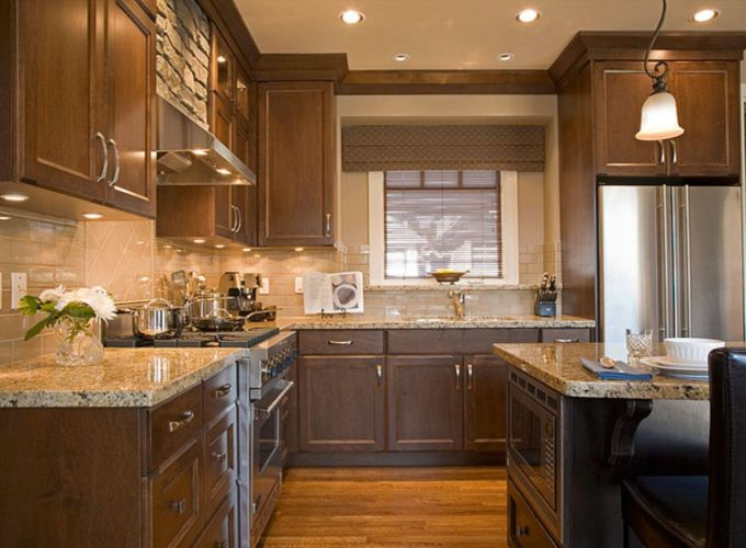 Stylish dark brown cabinets kitchen 74