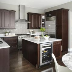 Stylish dark brown cabinets kitchen 77