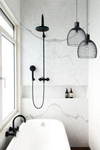 Stylish white subway tile bathroom 33
