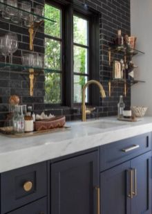 Wood and glass kitchen cabinets 14