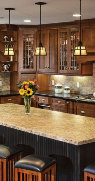Wood and glass kitchen cabinets 24