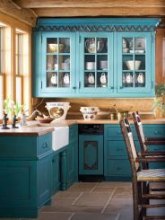 Wood and glass kitchen cabinets 28