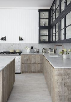 Wood and glass kitchen cabinets 32