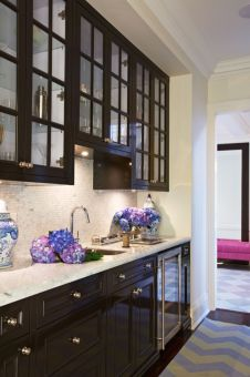 Wood and glass kitchen cabinets 33