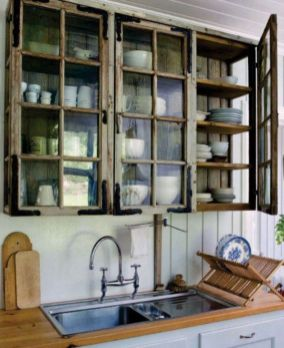 Wood and glass kitchen cabinets 40