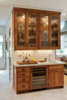 Wood and glass kitchen cabinets 45