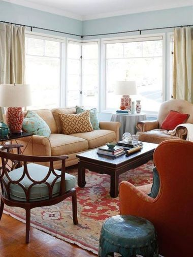 Adorable burnt orange and teal living room ideas 03