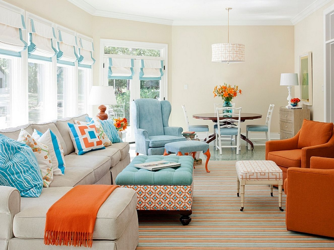 53 Adorable Burnt Orange And Teal Living Room Ideas - ROUNDECOR