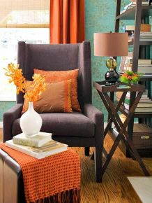 Adorable burnt orange and teal living room ideas 24