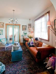 Adorable burnt orange and teal living room ideas 37