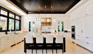 Amazing cream and dark wood kitchens ideas 04