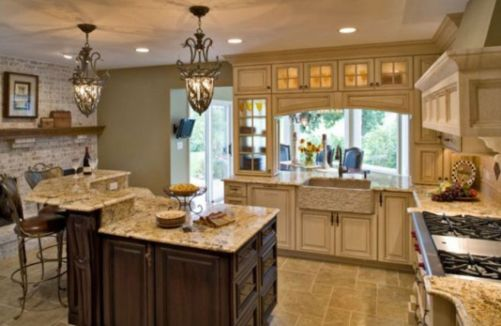 Amazing cream and dark wood kitchens ideas 05