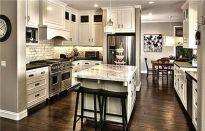 Amazing cream and dark wood kitchens ideas 11