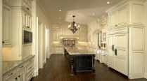 Amazing cream and dark wood kitchens ideas 18