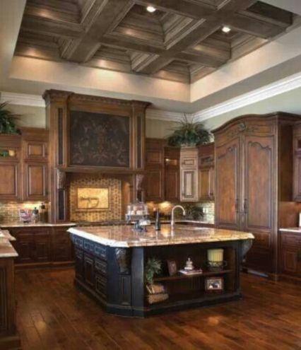 Amazing cream and dark wood kitchens ideas 36