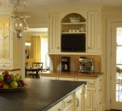 Amazing cream and dark wood kitchens ideas 42