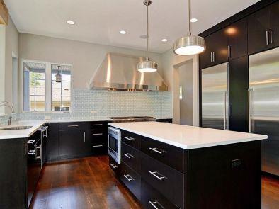 Amazing cream and dark wood kitchens ideas 47