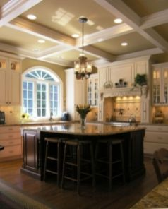 Amazing cream and dark wood kitchens ideas 48