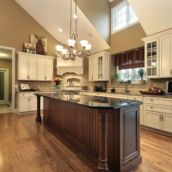 Amazing cream and dark wood kitchens ideas 56