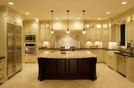 Amazing cream and dark wood kitchens ideas 57