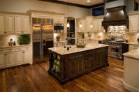 Amazing cream and dark wood kitchens ideas 63