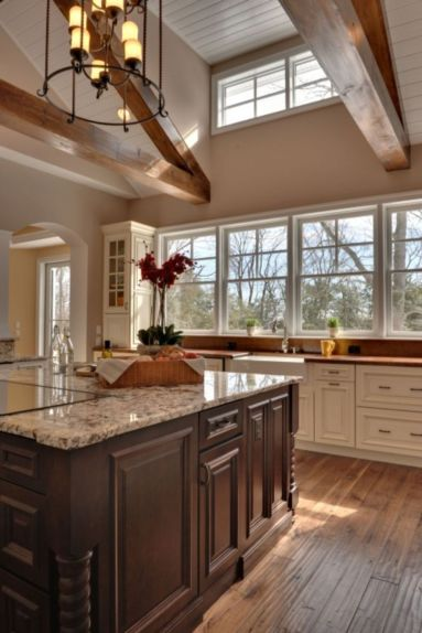 Amazing cream and dark wood kitchens ideas 75