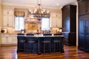 Amazing cream and dark wood kitchens ideas 76