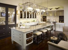 Amazing cream and dark wood kitchens ideas 78