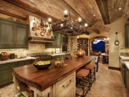 Amazing cream and dark wood kitchens ideas 80